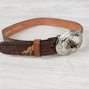 Nocona Leather Belt With Buckle